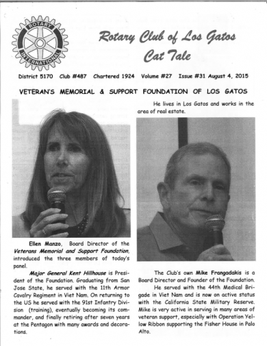Presentation to Rotary club of Los Gatos News Coverage