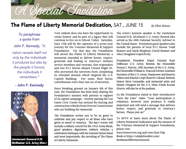 A Special Invitation:  The Flame of Liberty Memorial Dedication, SAT., JUNE 15