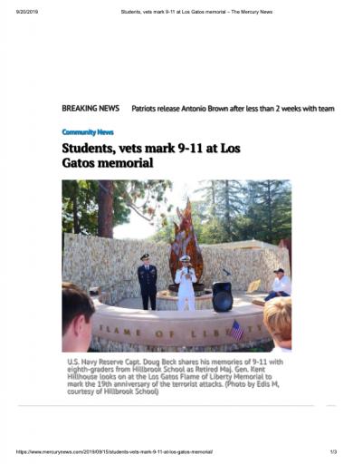 Students, vets mark 9-11 at Los Gatos memorial