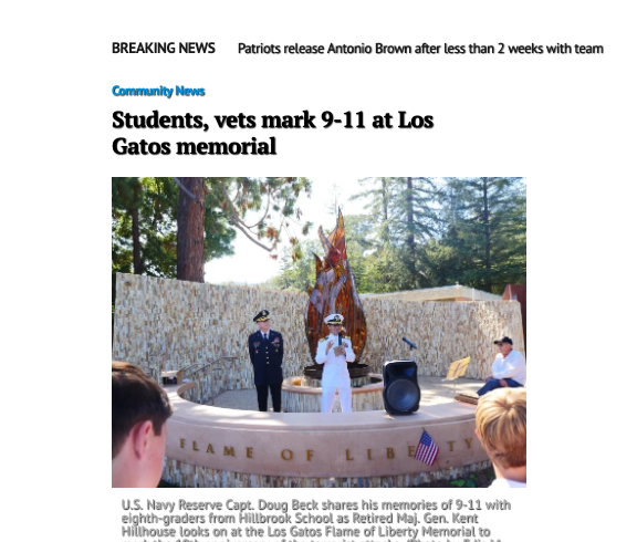 Students, vets mark 9-11 at Los Gatos memorial
